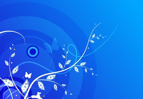 Floral with Blue Background