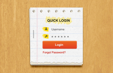 Paper Login Form PSD