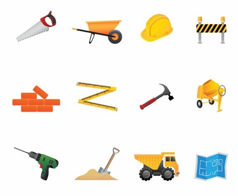 Building and Construction Tools Vector Icon Set