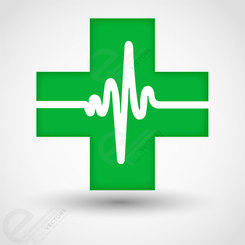 Medical cross icom with cardiogram. Free vector download