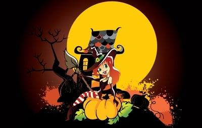 Funny Halloween Art with Witch Girl