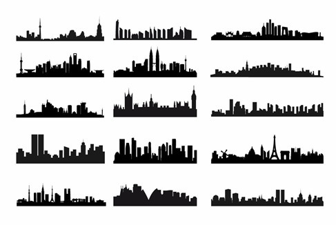 City Skyline landschap silhouet Vector Set