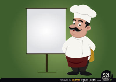 Chef with presentation screen
