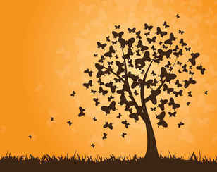 Free Vector Butterfly Tree