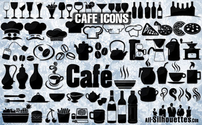 78 Cafe, restaurant icons, symbols