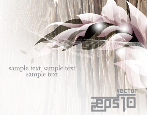 Glossy abstract background with floral