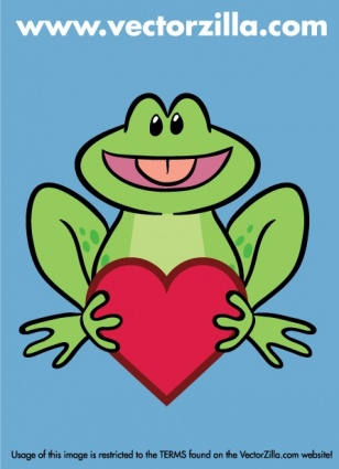 Cute Frog holding a Heart