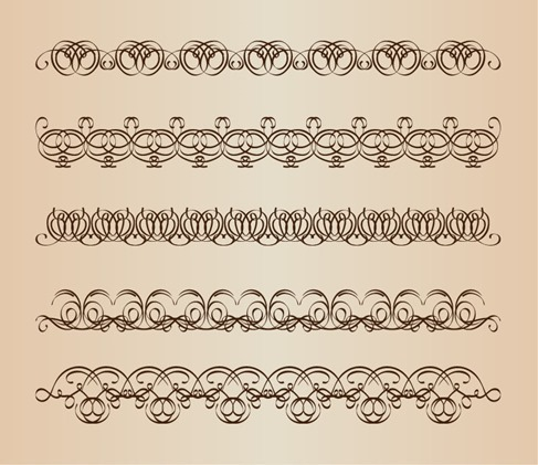 Decorative Calligraphic Borders Vector Set