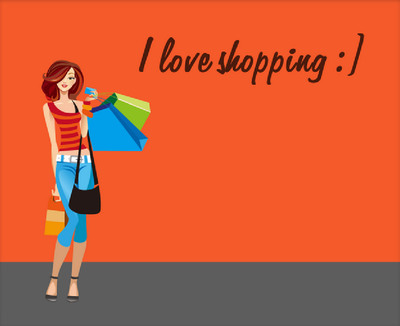 Young Hot Shopping Girl Cartoon