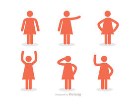 Woman Stick Figure Icons Vector Pack