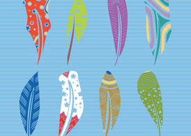 Decorative Feather Vector Shapes In Color
