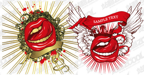Vector graphic material the tide of mouth topic
