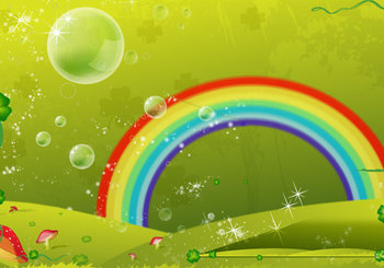 Vector Background Design: Clover Leaf Rainbow Valley