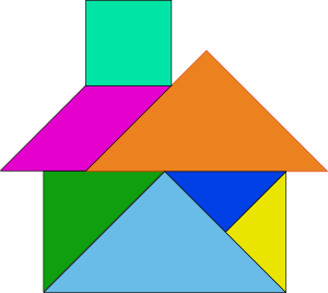 Tangram house blocks