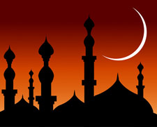 Abstract Background Mosques with Silhouette