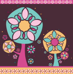 Magic Floral Tree Card Design