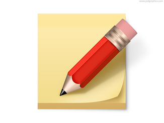 Post-it note and pencil icon (PSD)