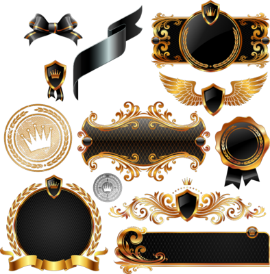 Black and Gold Shields and Crests Vectors PSD