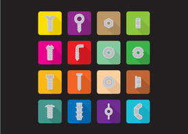 Flat Screws And Nuts Vector Icons