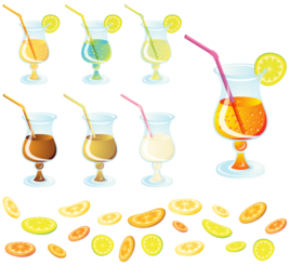 Cocktail with Lemon Slice Vector Free
