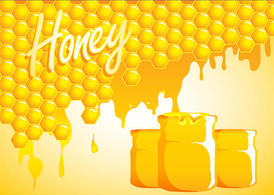 Honey Drip Background With Jars