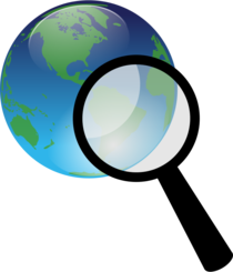 Earth and magnify glass