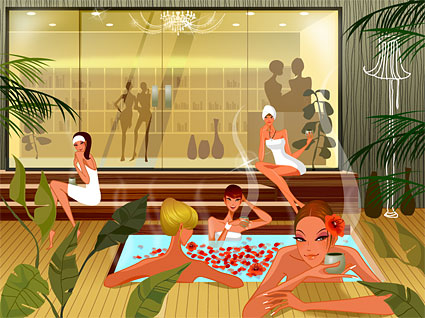 Fashion women in the spa