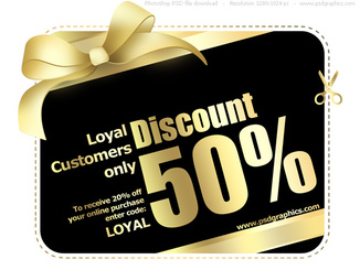 Gold and black shopping card template (PSD)