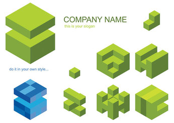 Vector graphic material cube logo