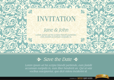 Marriage invitation with elegant frame pattern
