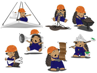 Cute Hedgehog Construction Workers