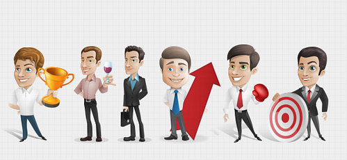 Businessman Vector Character Set 1