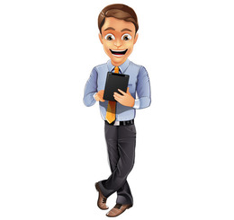 Businessman Vector Character with Notepad
