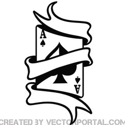 ACE CARD WITH RIBBON VECTOR.eps