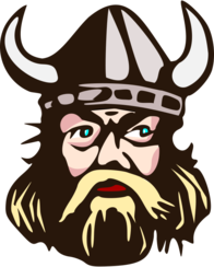 Viking head with horn