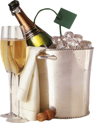 Champagne in ice bucket HD PSD