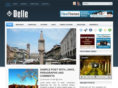 Delle free WordPress news template
