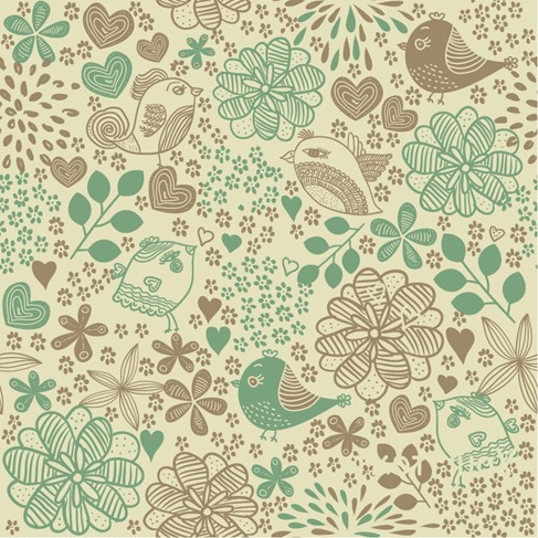 Birds in Flowers Romantic Seamless Pattern