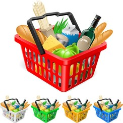 Fruits And Vegetables And Shopping Basket 03