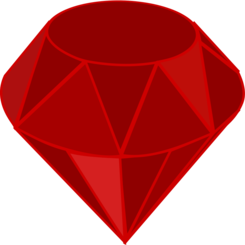 Red ruby, no transparency, no shading, square area