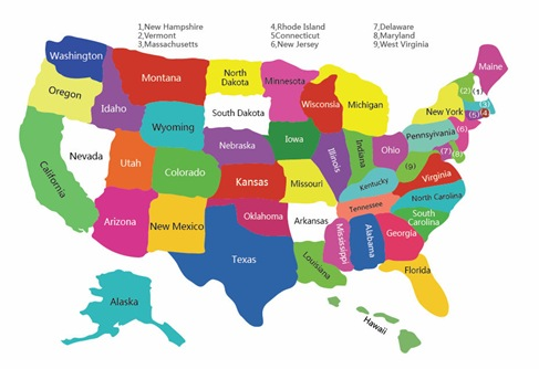 Free Colorful USA Map With States