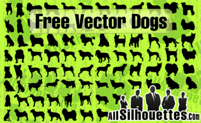 86 Vector Dogs Silhouettes