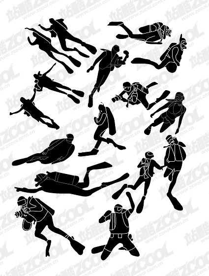 People silhouette Vector diving material