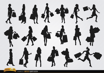 Girls with shopping bags silhouettes