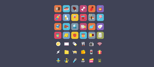 40 Fun Food Ficons Icons Set
