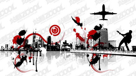 2, the trend of urban black and white illustrations vector m
