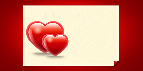 Valentine hearts card template (PSD)