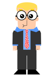 Cartoon guy with glasses