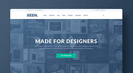 Creative Portfolio Bootstrap 3 PSD Template - REEN - Made for Designers - Submitted by Ben Schade