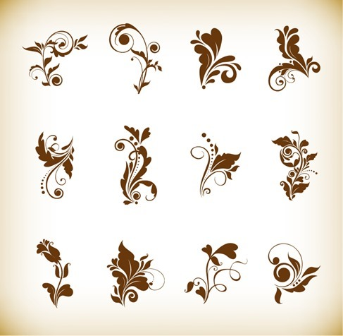 Set of Beautiful Floral Elements